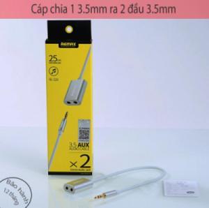 Cáp chia 1 đầu 3.5mm thành 2 đầu 3.5mm âm, (cáp chia tai nghe) Remax RL-S20