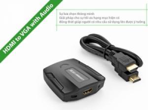 Bộ chuyển HDMI tới VGA (HDMI âm-VGA âm) có hỗ trợ Audio và nguồn ngoài UGREEN 40227 (black)