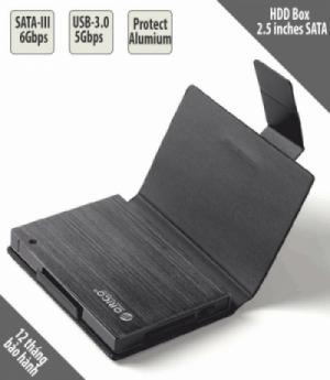HDD Box SATA-III, USB-3.0 2.5 inches, vỏ nhôm nguyên khối, có bao đựng chống sốc ORICO 25AU3