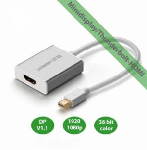 Cáp chuyển Minidisplay/Thunderbolt ra HDMI (từ macbook, Surface.. ra TV HD, máy chiếu HD) UGREEN 10401 (trắng)
