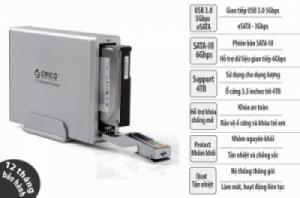 HDD box 3.5 inches SATA-III USB 3.0 5Gbps - eSATA-3Gbps vỏ nhôm nguyên khối, có quạt tản nhiệt và khó chống mở ORICO 7618USB3
