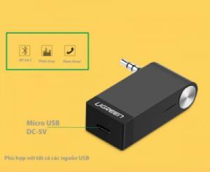 Đầu nhận Bluetooth cho Loa và nghe nhạc, đàm thoài trên xe hơi UGREEN 30348 (màu đen)