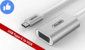 Cáp chuyển USB Type-C ra VGA (truyền tín hiệu từ Macbook Pro 13 inch ra Máy chiếu, LCD) UNITEK Y-6315-AWH