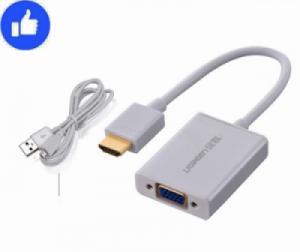 Cáp chuyển HDMI sang VGA có Audio hỗ trợ cấp nguồn ngoài UGREEN 40212 (màu trắng)
