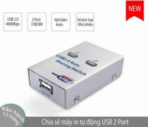 Bộ chia USB 2 máy tính cho 1 máy in (1 máy in ra 2 máy tính) chia tự động và bấm nút bằng tay FIGEAR FJ-2UA