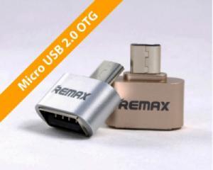 Đầu USB OTG - Micro USB (loại nhỏ) bọc nhôm, chính hãng REMAX RA-OTG