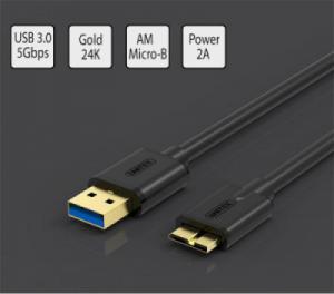 Cáp dùng cho ổ cứng di động kích thước nhỏ 2.5 inches và Samsung Galaxy Not-3 loại ngắn 0.5 métUNITEK Y-C461BK