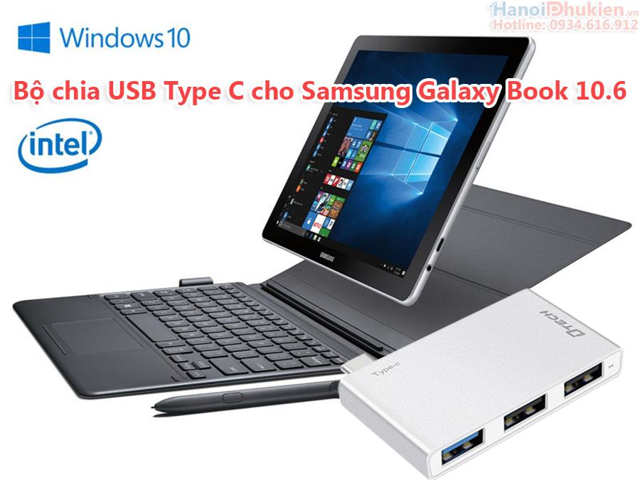 Bộ chia USB Type C 1 ra 3 thiết kế đẹp, nhỏ gọn cho Samsung Galaxy Book 10.6
