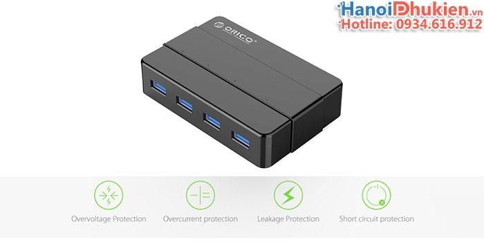 Bộ chia USB 3.0 - 1 ra 4 hỗ trợ nguồn phụ 12V Orico H4928-U3