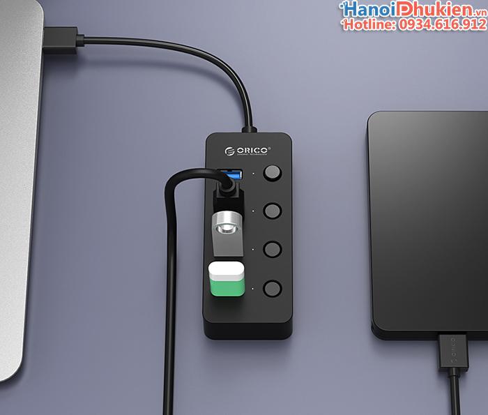 Bộ chia 4 cổng USB 3.0 Orico W9PH4 có công tắc nguồn cho từng cổng