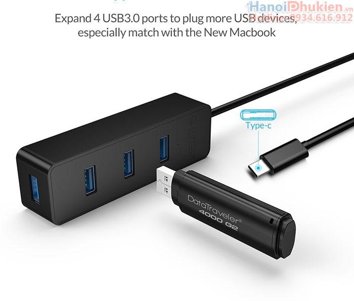 Bộ chia USB Type-C ra 4 USB 3.0 Orico W5PH4-C3