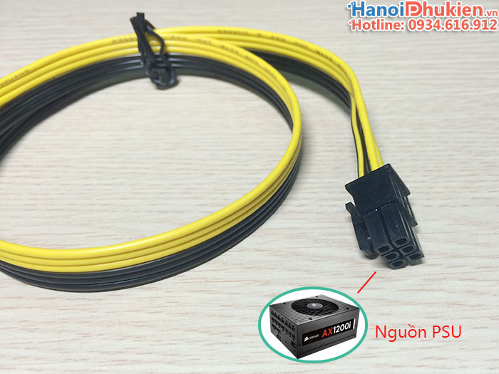 Cáp nguồn card VGA 6Pin đực sang 6Pin đực dài 50cm