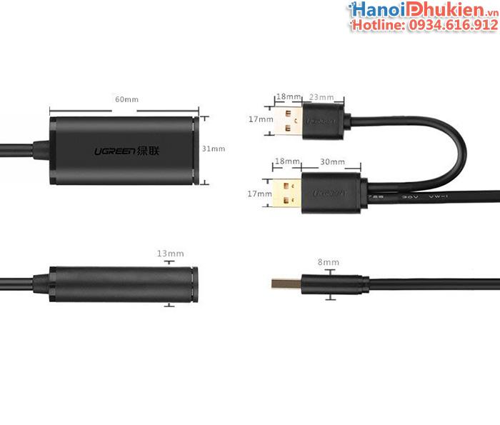Cáp nối dài USB 5M có Chip đẩy tín hiệu, hỗ trợ nguồn ngoài Ugreen 20213