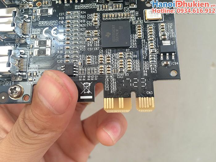 Card PCI Express 1X sang 3 cổng 1394B (firewire 800) chip TI XIO2213 chính hãng