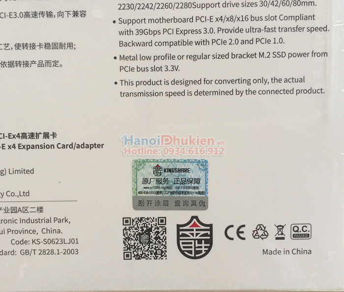 Card chuyển đổi M2 NVMe sang PCI-E 4X Kingshare KS-NVX401