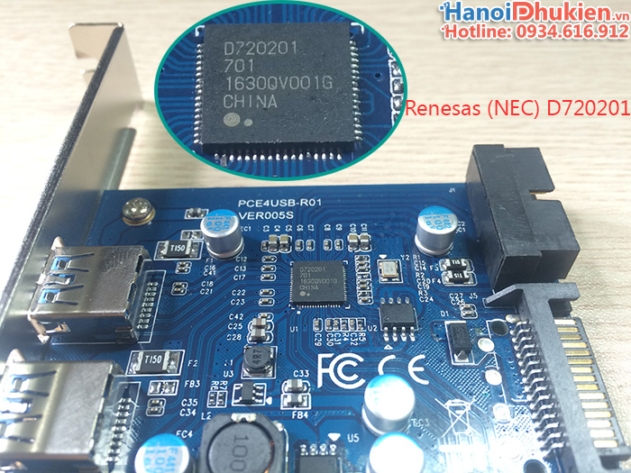 Card PCI-E 1X sang 2 cổng USB 3.0, 20Pin chip Renesas uPD720201 (NEC)