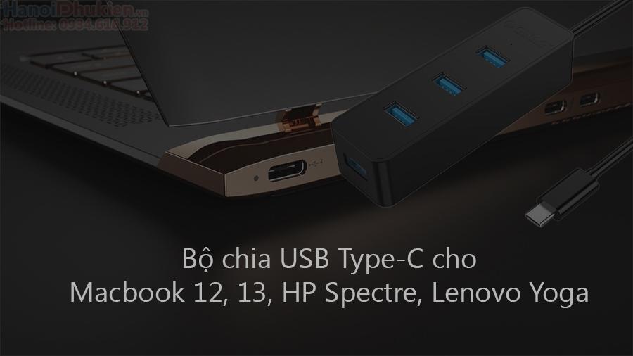 USB Type-C ra 4 cổng USB 3.0 cho Macbook 12, 13, HP Spectre, Lenovo Yoga