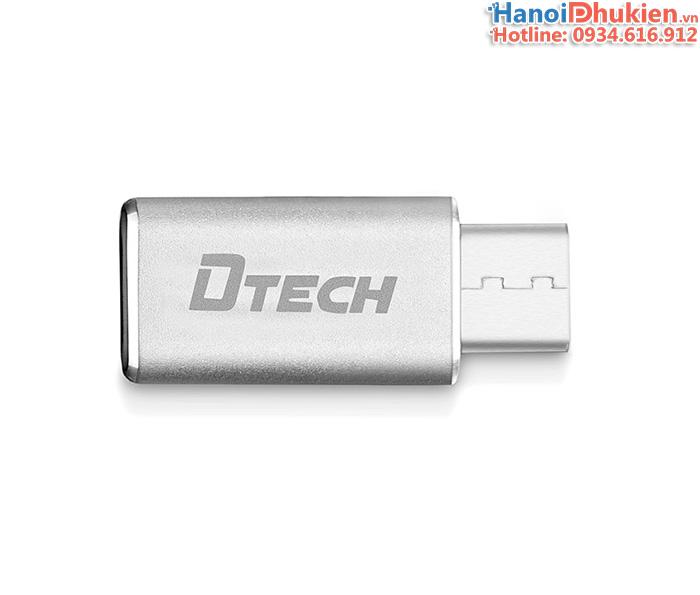 Đầu chuyển đổi Micro USB sang Type C (USB chuẩn C) vỏ nhôm Dtech T0002