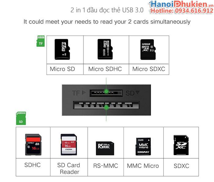 Đầu đọc thẻ SD, TF USB 3.0 Ugreen 20250