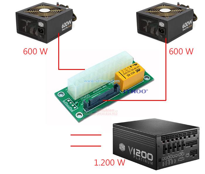 Đầu nối 2 nguồn ATX máy tính với nhau