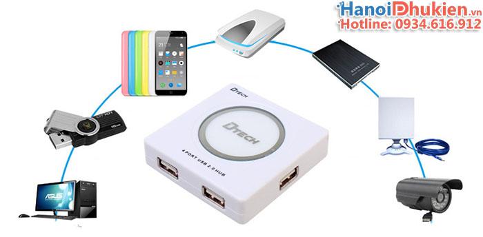 Bộ chia USB 1 ra 4 USB 2.0 có nguồn ngoài Dtech DT-3004P
