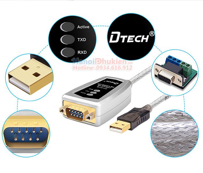 Cáp chuyển đổi USB sang RS422/RS485 dài 1.2M có đèn LED Dtech DT-5019