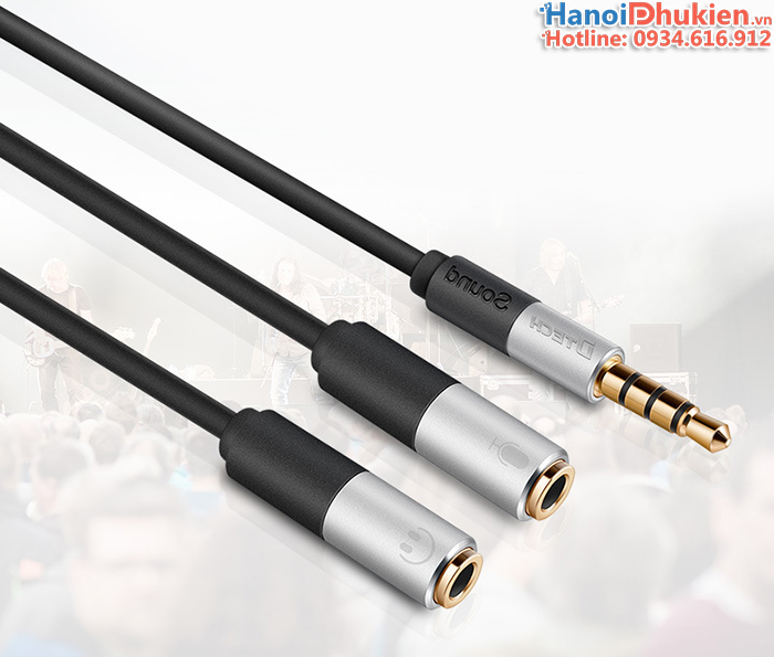 Cáp chia jack 3.5mm ra mic và loa Dtech DT-T0222 đầu mạ vàng