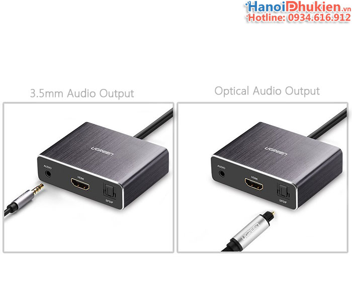 Cáp HDMI sang HDMI Audio 3.5mm, Optical Audio 5.1, 7.1 Ugreen 40281