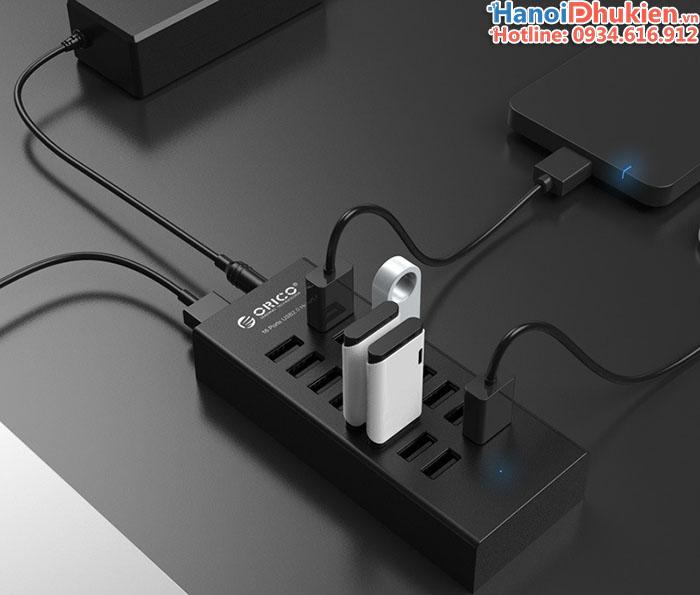 Bộ chia USB 1 ra 13 cổng USB 2.0 Orico H1613-U2 có nguồn phụ