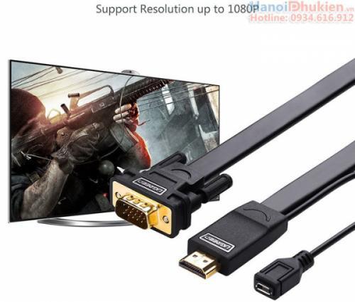 Cáp chuyển đổi HDMI sang VGA3M Ugreen 40232 dây dẹt