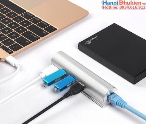 Cáp chia Type C (Thunderbolt 3) ra USB 3.0, LAN Gigabit Unitek Y-9319