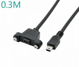 Cáp nối dài USB 2.0 Mini B Male to Female đầu bắt vít 0.3M
