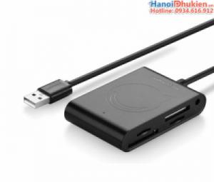 Bộ chia USB 1 ra 3, đầu đọc thẻ SD, TF, MS hỗ trợ nguồn phụ Ugreen 20238