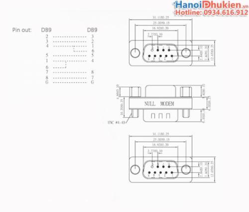 Adapter RS232c Null Modem DB9F-DB9F