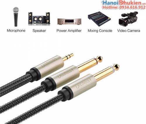Cáp âm thanh 3.5mm ra 2 đầu 6.5mm (Mono) 3M Ugreen 10618