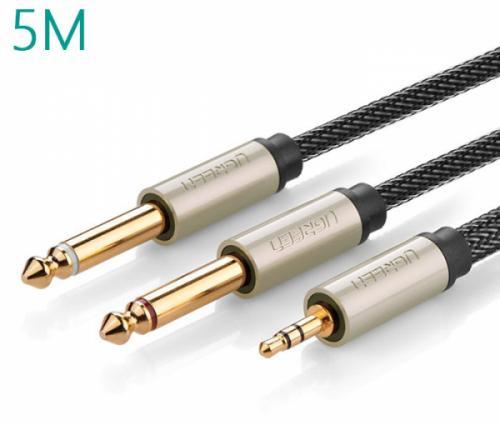 Cáp âm thanh 3.5mm ra 2 đầu 6.5mm (Mono) 5M Ugreen 10619