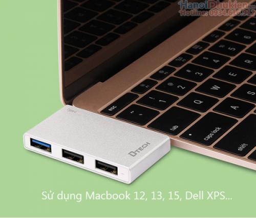 Bộ chia Thunderbolt 3 (Type C) ra 3 cổng USB vỏ nhôm Dtech DT-T0018