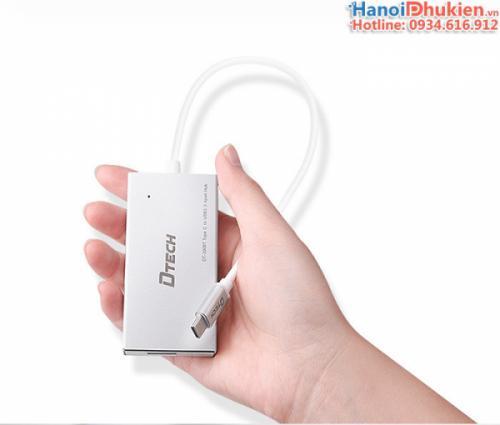 Bộ chia Thunderbolt 3 (Type C) ra 4 cổng USB 3.0 vỏ nhôm hỗ trợ nguồn ngoài Dtech DT-3308T