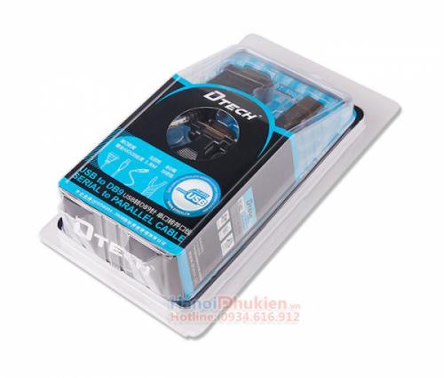 Cáp USB to RS232 1.8M kèm đầu chuyển DB9 sang DB25 LPT Dtech DT-5003A