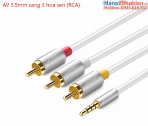 Cáp AV 3.5mm sang 3 đầu bông sen RCA dài 1.5M chính hãng Ugreen 20895