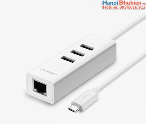 Bộ chuyển đổi USB Type C sang 3 cổng USB 2.0, LAN Ugreen 20792 chính hãng