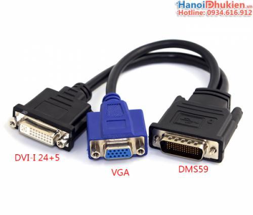 Cáp DVI DMS59 sang 2 cổng DVI-I 24+5 , VGA cho card Quadro, FireMV