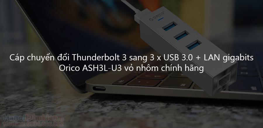 Dây nối USB Type C ra 3 cổng USB 3.0 và cổng mạng LAN