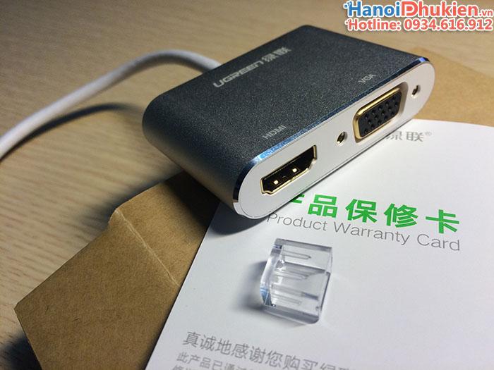Cáp Thunderbolt sang HDMI-VGA Ugreen 20421 vỏ nhôm (trắng)
