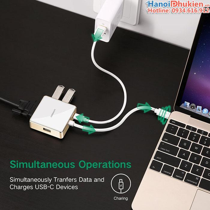 Cáp Thunderbolt 3 sang VGA, 3xUSB hỗ trợ sạc cho Macbook Pro 13, 15, 12