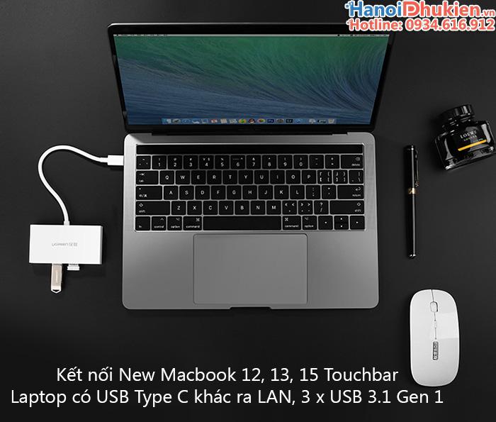 Bộ chia USB Type C ra 3 cổng USB 3.1 kèm cổng mạng LAN cho Macbook Ugreen 40382