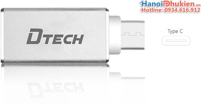 Đầu chuyển USB 3.0 sang Type C OTG Dtech T0001 vỏ nhôm Aluminum