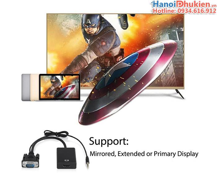 Cáp chuyển đổi VGA sang HDMI có tích hợp âm thanh (audio)