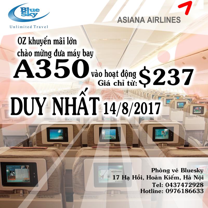 OZ khuyến mãi lớn chào mừng đưa máy bay A350 vào hoạt động